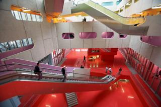 L'Atrium, nouvel immeuble de l'Universite Pierre et Marie Curie Paris VI - Jussieu. Architectes: cabinet Peripheriques. Enseignement superieur